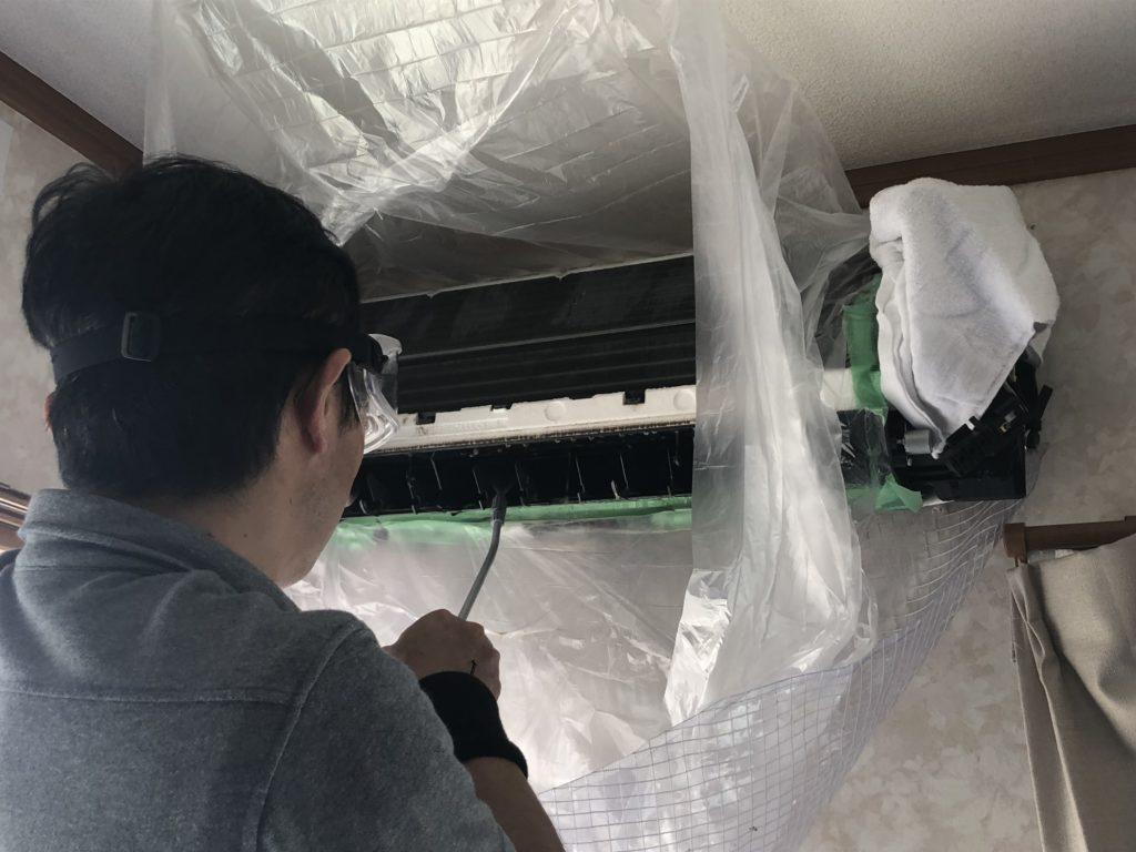 埼玉県幸手市にてエアコン洗浄クリーニング画像